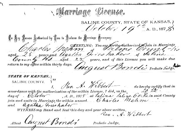 Charles and Agatha's Marriage License